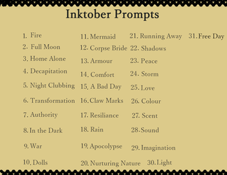 Inktober Prompts by Amasseuro