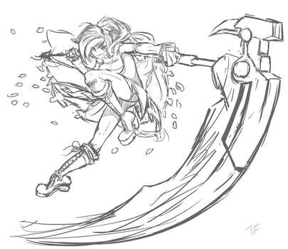 Rough sketch = Ruby Rose (RWBY) by Pisces3Ferver