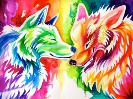 Two Rainbow Wolves (On Ebay) by Lucky978