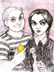 Pugsley and Wednesday by DrMistyTang