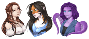 2018 Bust Commissions Batch 1 by Horus-Goddess
