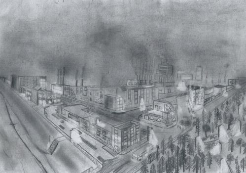 drawing of an dark dirty city by VPGD