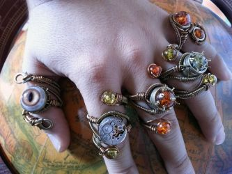 5 Steampunk adjustable rings by Daniel Proulx by CatherinetteRings