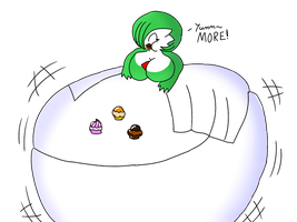 Gardevoir Eating To much Pokepuff~ by LuckyEmerald269