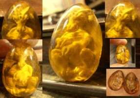 Leeroy amber dragon egg work in progress by fairyfrog