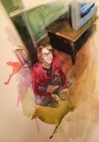 Random watercolor of my mom by hrutger