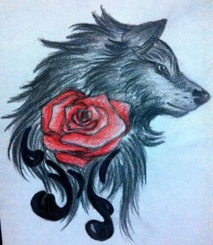 wolf rose tattoo by PaintedWulf1435