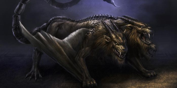 Three Headed Manticore by aaronflorento