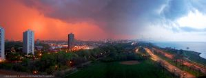 Early Summer Thunderstorm at Sunset by Saledin