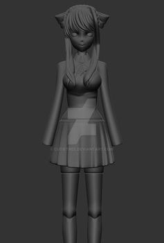 (DDLC)- Monika Model WIP04 by CutieTree