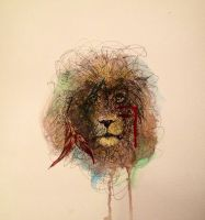 Lion Watercolor and Ink by LordColinOneal