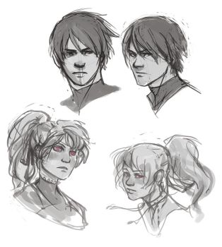 Hei and Yin practice sketches by Mudora