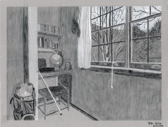 Drawing Assignment: B+W Charcoal Interior by AnimeVeteran