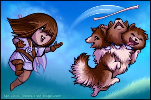 Chibi Liadan and Cerberus by Vanilleon