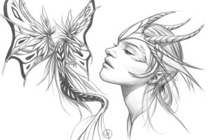 Dragon Queen and a red tail fairy dragon (WIP) by dannykojima