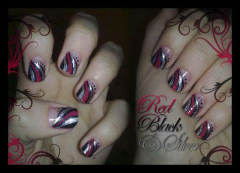 Red, Black and Silver by JemNailArt