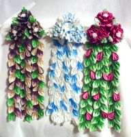 More Custom Kanzashi, Forest, Frost and Cranberry by EruwaedhielElleth