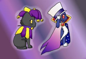 Dimentio + Count Bleck kitties by catcat49