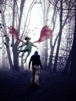 Man With Dragon In Woods by adi-149