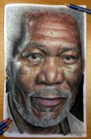 Morgan Freeman old drawing by AtomiccircuS