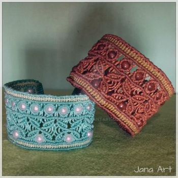 Macrame Cuff Bracelets with beads by Mawee79