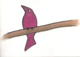 Pink Bird No 2 on Branch by Mutany