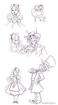 Alice and Hatter Sketches by briannacherrygarcia