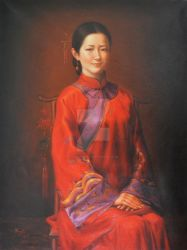 oil painting art- beautiful chinese girl by hongtao-art