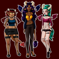 Demon Girls by Tiny-Doodles
