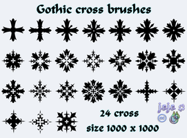 Gothic cross brushes by jojo-ojoj