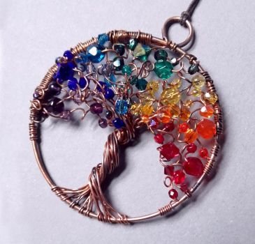 Rainbow Tree of Life pendant with crystals by InwardArt
