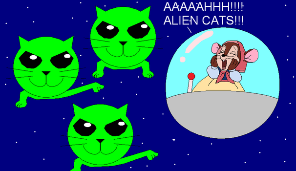 Tanya Mousekewitz scared of Alien Cats by GuiherCharly