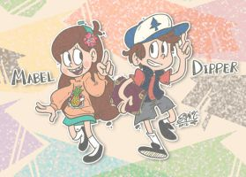 Gravity Falls - Mabel and Dipper 01 by sanna-mania