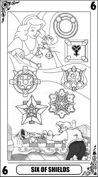 KH Tarot: Six of Shields (lineart) by way2thedawn
