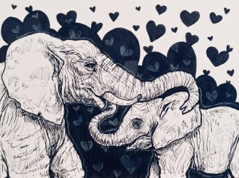 Inktober 21: Elephant Bonding by Biodin