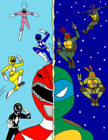 Power Rangers vs. TMNT by streetgals9000 by JQroxks21