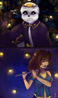 Nightmare Sans x Frisk  Melody and Magic by RebelGirls
