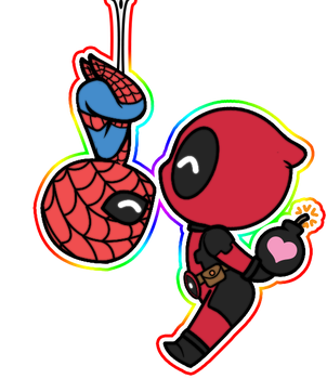 Kissing Chibi Spideypool by JasmineAlexandra