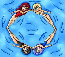 kingdom hearts girls synchronized swimming by ninpeachlover