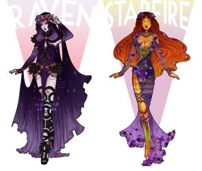 Art Nouveau Cosplay Designs: Starfire and Raven by Hannah-Alexander
