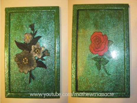 Double sides Glass Layered Glitter painted frame by pomchillasitems