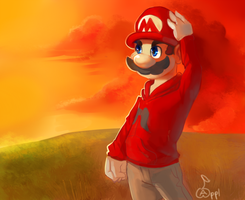 Sunset Mario by Zeighous