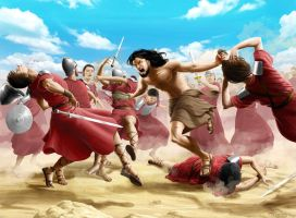 Samson and the philistines by Designed-One