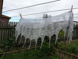 Cobwebs in the Rain Lace Shawl by musical-box