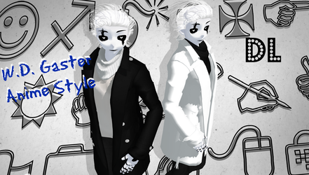 UNDERTALE MMD W.D. Gaster Anime Style DL by Foxvinny-art
