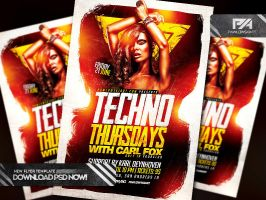 Techno Thursdays Party Flyer PSD Template by pawlowskiart