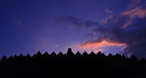 sunset at borobudur temple by maleica