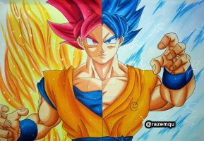 Goku Saiyan God | Super Saiyan Blue by razemqu