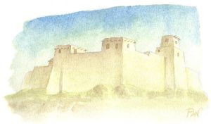 Watercolor - Ancient walls by Panaiotis