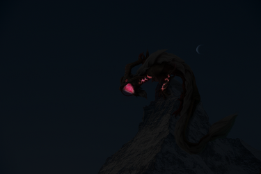 Dragon on Mountain Night by IsellaHowler